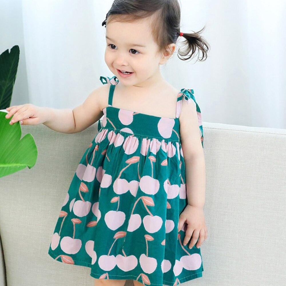 Kids Girl Sling Dresses Summer Children Clothes Toddler Girls Dress Baby Cotton Sleeveless Printed Princess Dress 1-6 Years