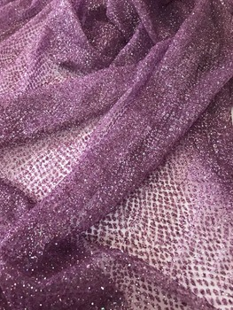 Hot selling ZH-1111 glued glitter lace fabric for party dress glued glitter tulle Lace Fabric
