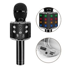 Karaoke Microphone For Adults Or Kids Karaoke Microphone Portable Sing/recording Karaoke Microphone With Led Light For Phone TV цена 2017