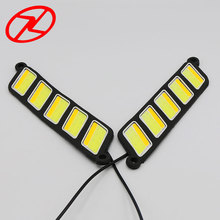 2pcs Flexible Waterproof COB 12V Car Auto LED DRL Driving Daytime Running Lamp Fog Light White color with Yellow Turn Signal