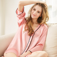 Summer Lady 100% Silk New Simple Comfortable Clothing Home Furnishing Long Sleeved Nightgown