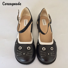 Hot selling, 2015 new pure Handmade natrual leather shoes ,Sen female casual shoes,Japan Harajuku cat head Free Shipping