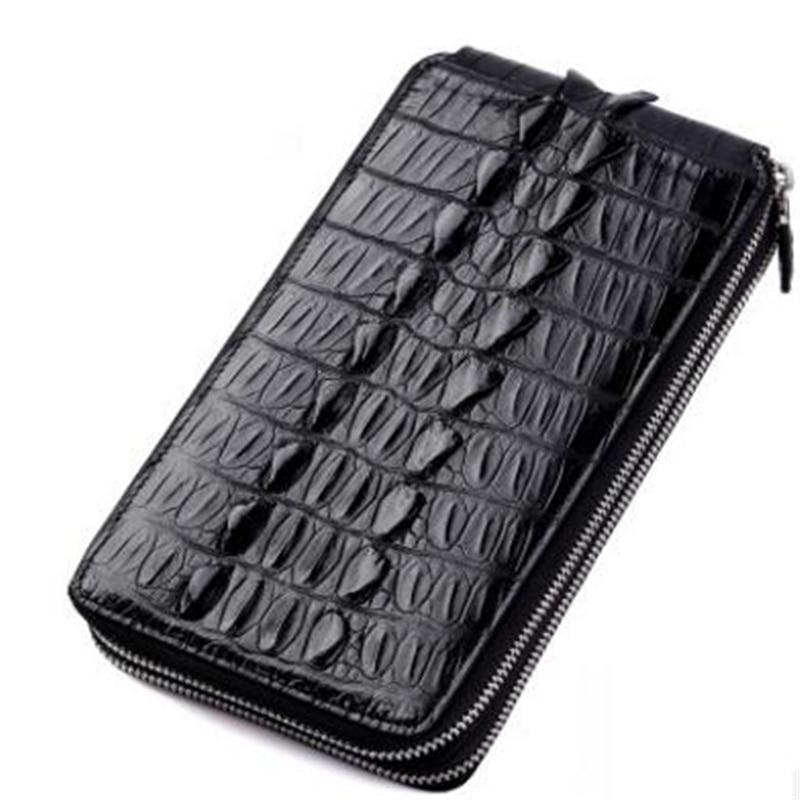 Alligator Genuine Leather Men Purse Fashion Multi-Card Men Long Style Double Zipper Wallet Luxury Cow Leather Hand Purse genuine cow leather vintage men wallet fashion zipper