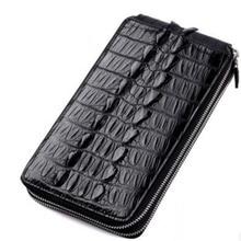 Alligator Genuine Leather Men Purse Fashion Multi Card Men Long Style Double Zipper Wallet Luxury Cow
