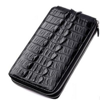 Alligator Genuine Leather Men Purse Fashion Multi Card Men Long Style Double Zipper Wallet Luxury Cow Leather Hand Purse