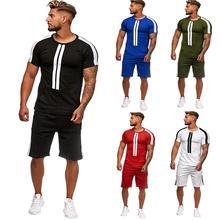 Tracksuit Men New Summer Cotton Short Set Brand Tshirt Breathable Casual Beach 2019 T-shirt Suit Fashion