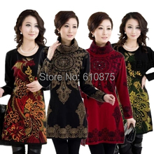 D50 female Autumn winter Jacquard one-piece warm woolen dress women loose knitted plus size thickening