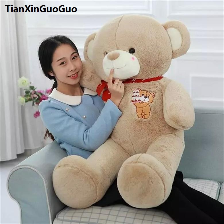stuffed plush toy large 100cm lovely teddy bear plush toy cake bear doll soft throw pillow birthday gift w2981 stuffed animal 120 cm cute love rabbit plush toy pink or purple floral love rabbit soft doll gift w2226