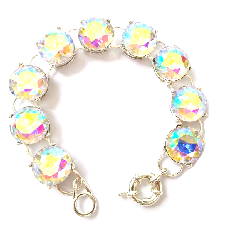 Woman Accessory Flat Bling bling Glass Stone Silver Plated Shiny Dot Bracelet for Women