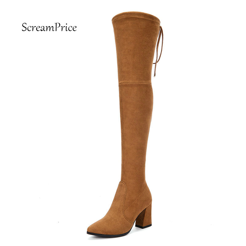 Ladies Suede Comfort Square Heel Over The Knee Boots Fashion Pointed Toe Autumn Elastic Boots Black Gray Brown