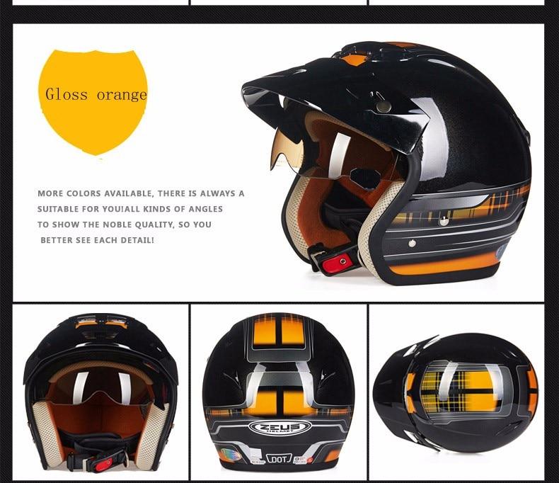 Zeus 381c 34 capacete da motocicleta meio
