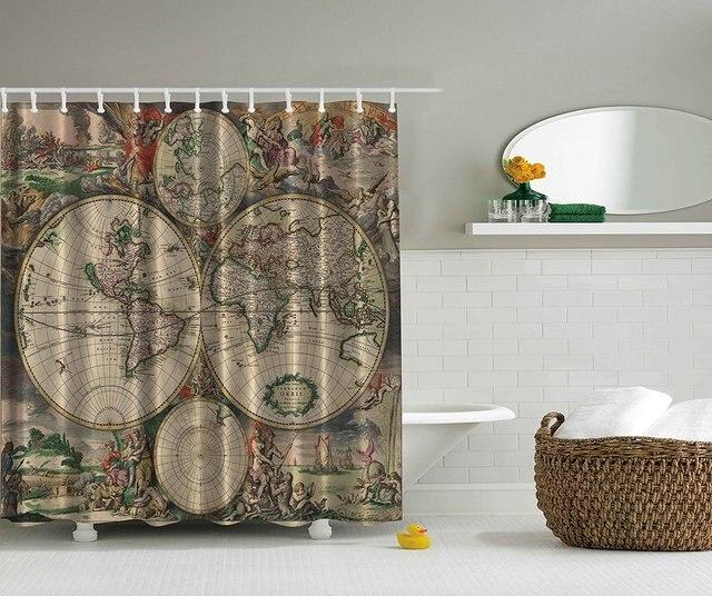 M moire accueil old carte du monde imprimer polyester tissu rideau de douche beige vert gris - Rideau de douche carte du monde ...