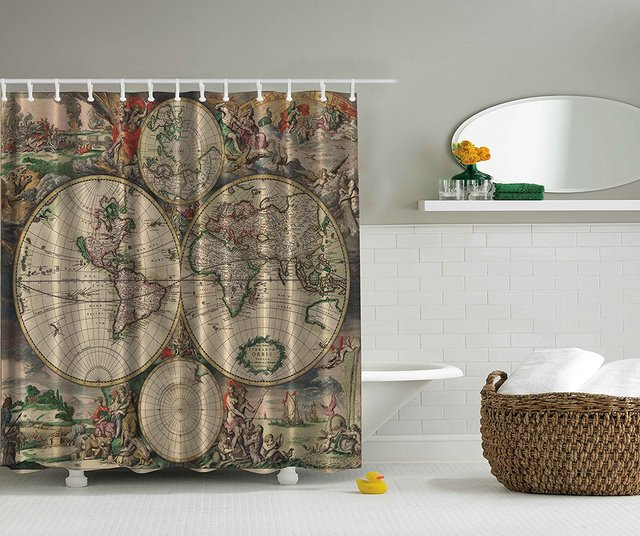 Memory Home Old World Map Print Polyester Fabric Shower Curtain Beige Green Gray Orange Bathroom Decoration