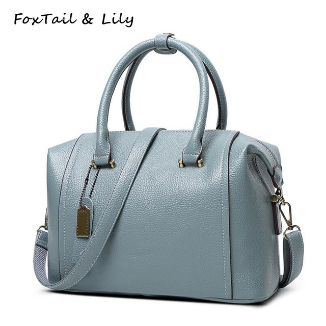 40ec43bc3cb2 FoxTail   Lily 2017 Genuine Leather Boston Bag Luxury Handbags Women Bags  Designer Brand Famous Female Shoulder Crossbody Bags