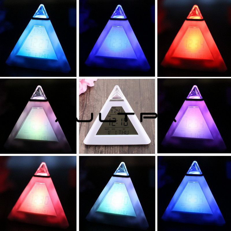 7 LED Pyramid Change Colour Digital Clock With Date Alarm Temperature Alarm Clock ABS+ Electronic Component