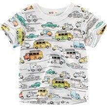 цены Summer Kids Boys Girls Short Sleeve T Shirts Cotton Cartoon Bus Print T-Shirt Baby Boy Tops Tee Shirt Children Clothing