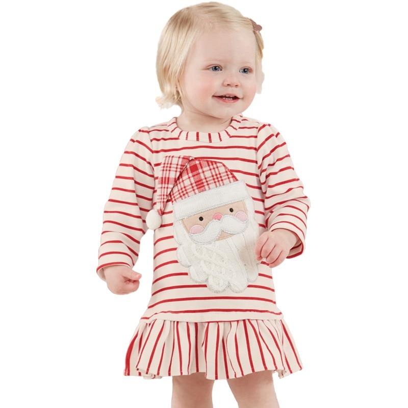 New Christmas dress for girls cotton Striped Long sleeve vestidos Baby girl clothes princess dress Father Christmas Girl Dress чернильный картридж canon pgi 9pbk