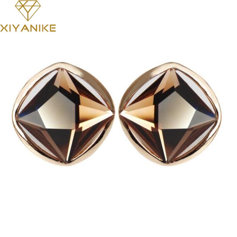 XIYANIKE 5 Colors 2018 New Fashion Luxury Super Flash Big Crystal Stud Earrings For Women Gift Statement Jewelry Brincos E778