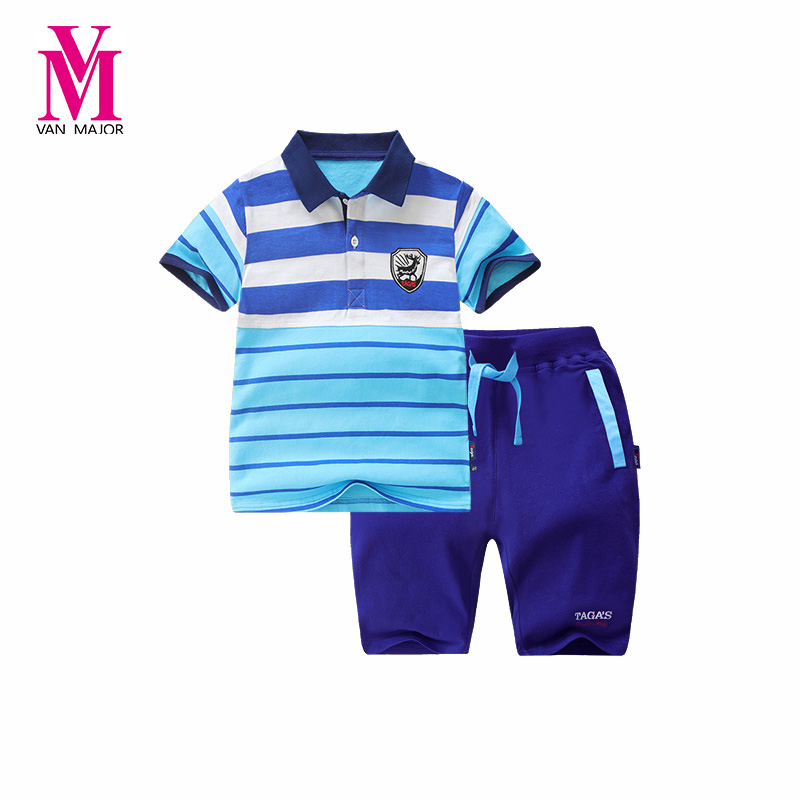 Childrens Sets  Boy Kid Tops Summer Short Sleeve Tops Striped Polo Shirts Pants Kids Baby Clothing Set Outerwear Free Shipping цена 2017