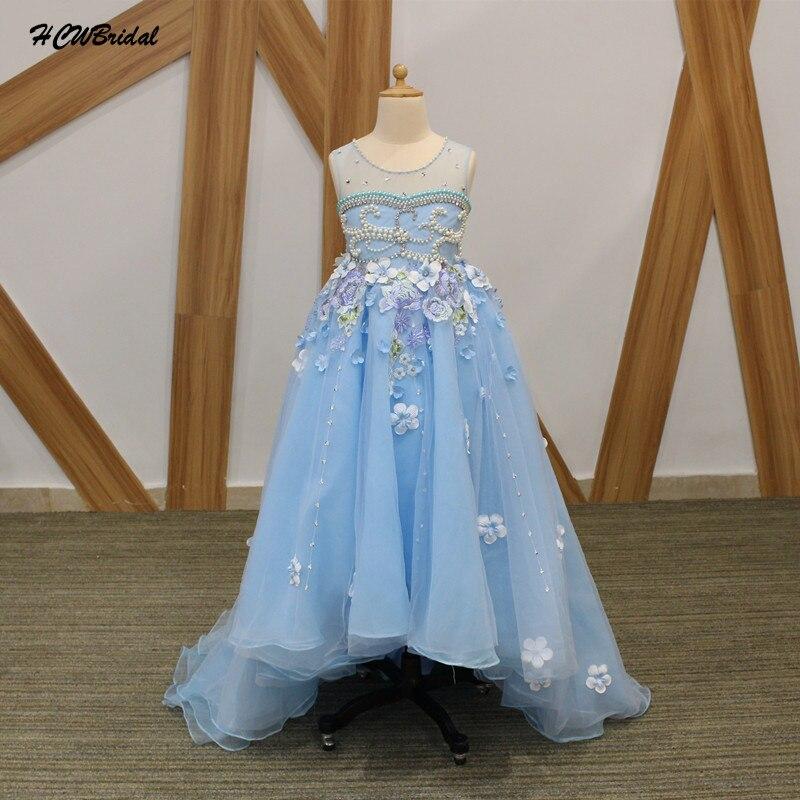 Light Blue High Low Organza   Flower     Girl     Dresses   2019 Luxury Pearls   Flowers   Little   Girls   Wedding Party   Dress   First Communion Gown