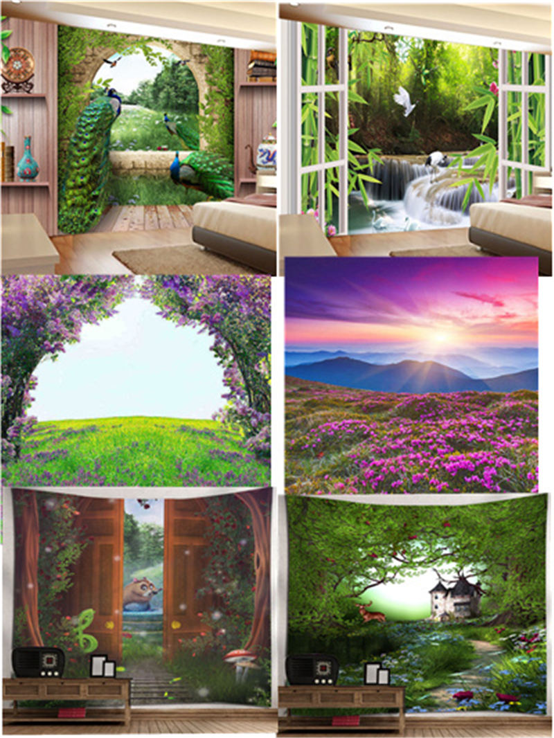 Beautiful 3D Peacock Wall Tapestry Sunrise Garden Tapestry
