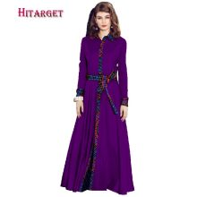 dashiki african dresses for women long sleeves with belt Elegant lady print dress autumn bazin WY906