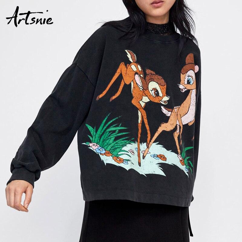 Artsnie Spring 2019 Cartoon Animal Casual Sweatshirts Women O Neck Long Sleeve Streetwear Oversized Hoodie Winter Sweat Female