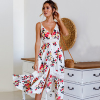 Boho Dresses Chic Fashion Female Dress Women Summer Long For Prom Woman Party Night Plus Size S Printed Floral Sling Polyester