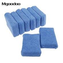 8Pcs Microfiber Car Cleaning Sponge Cloths Hand Wax Polishing Buffing Pads For Wash Detailing Applicators Blue