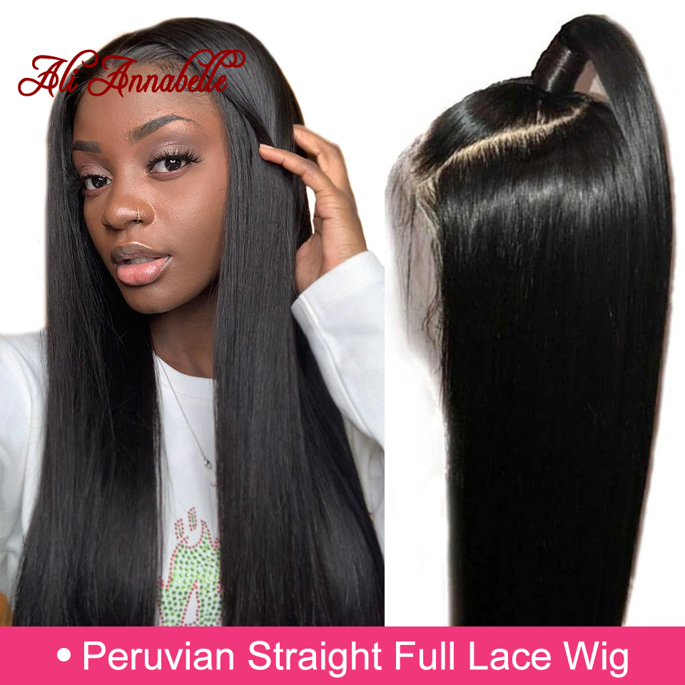 Peruvian Straight Full Lace Human Hair Wigs for Black Women 130 150 Pre Plucked Full Lace
