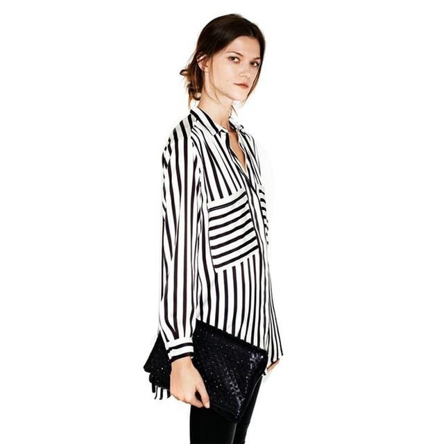 New Summer Formal blouses Long Sleeve Button Down Women's Shirt Vertical Striped Chiffon Pocket Career Tops