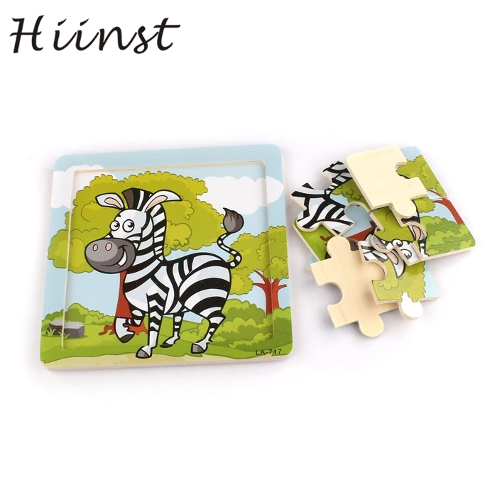HIINST kids educational toys 2017 hot funny Wooden Zebra Puzzle Educational Developmental Baby Kids Training Toy*R Drop