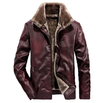 2019 New Men's PU Leather Jackets Winter Coats Male Fur Collar Thermal Faux Leather Coat Warm Jacket Autumn Tops Outwears Men