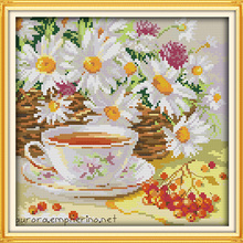 Afternoon tea cross stitch kit flower food still life 18ct 14ct 11ct p