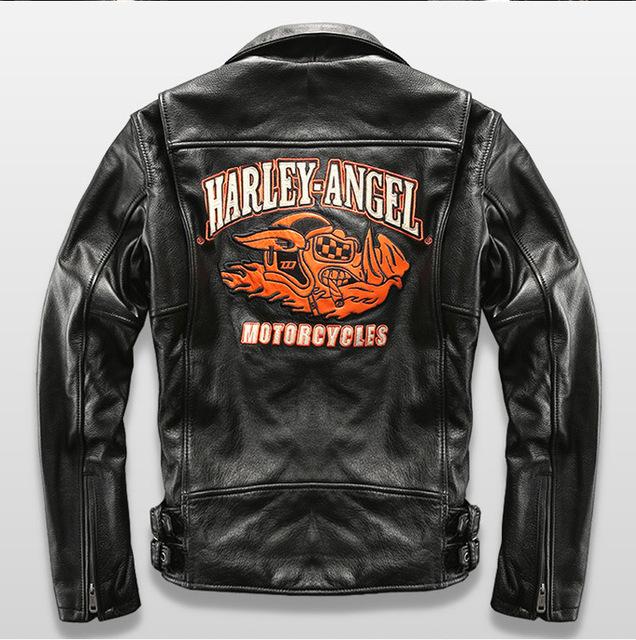 HARLEY Vuela bordado collar de béisbol bomber de piel de oveja chaqueta delgada chaqueta de cuero de piloto de vuelo hombres hombres boy mortorcycle chaqueta