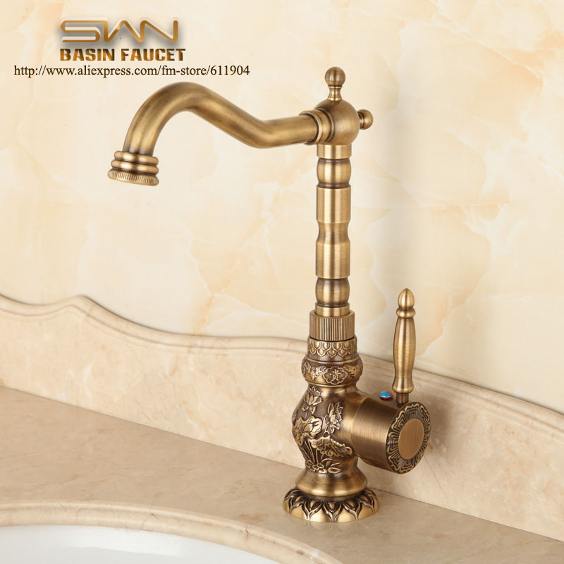 Antique Brass Bathroom Faucet Lavatory Vessel Sink Basin Kitchen Faucets Mixer Tap Swivel Spout Cold And Hot Water Chinese Style golden brass kitchen faucet dual handles vessel sink mixer tap swivel spout w pure water tap