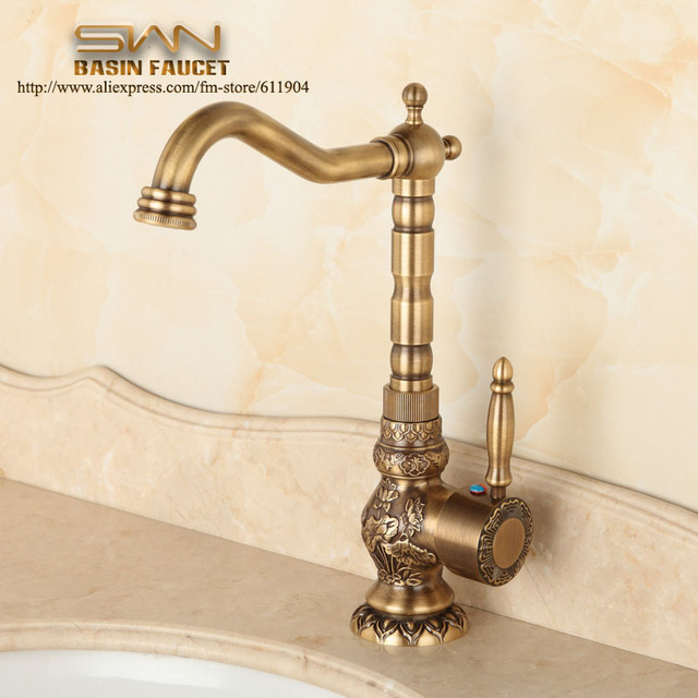 Antique Brass Bathroom Faucet Lavatory Vessel Sink Basin Kitchen Faucets  Mixer Tap Swivel Spout Cold And