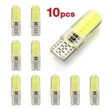 10 Uds T10 W5W LED interior del coche luz COB de silicona auto lámpara de señal 12V 12V 194 de 501 bombilla de estacionamiento de cuña lateral para lada estilo de coche