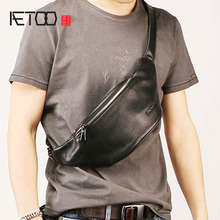 AETOO Mens leather waistband, stylish oblique chest bag, leisure trend travel multifunctional waterproof mens bag