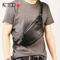 AETOO männer leder bund, stilvolle schräge brust tasche, freizeit trend tasche, reise multifunktionale wasserdicht männer tasche