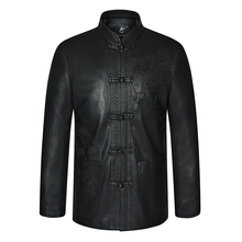 цена Traditional Chinese Garments Mens Black Ethnic Tang Suit Mandarin Collar Leather Jackets With Dragon Totem Embroidery Fur Coat  в интернет-магазинах