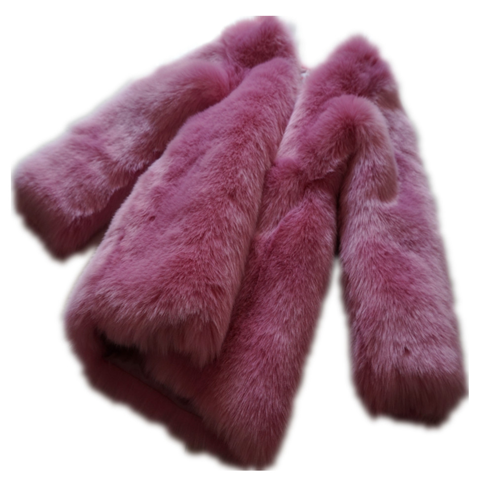 solid pink long sleeve faux fur thickening warm faux fur coat for women woman's thernal furry jackets coats outerwear overcoat