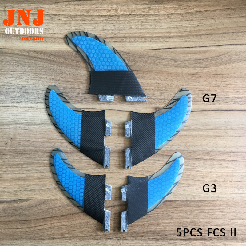 5pcs FCS II fins G7+G3 made of carbon and bamboo for surfing 002 size 3PCS- L+2PCS-S fitted surfboard fins fcs m g5 fins surf table surf fins with fcs g5 original bag