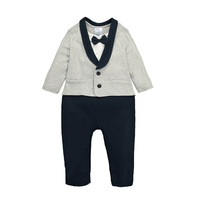 Gentleman Baby Boy Clothes White Black Spring Autumn Banquet Clothes Newborn Baby Rompers Long Sleeve Baby