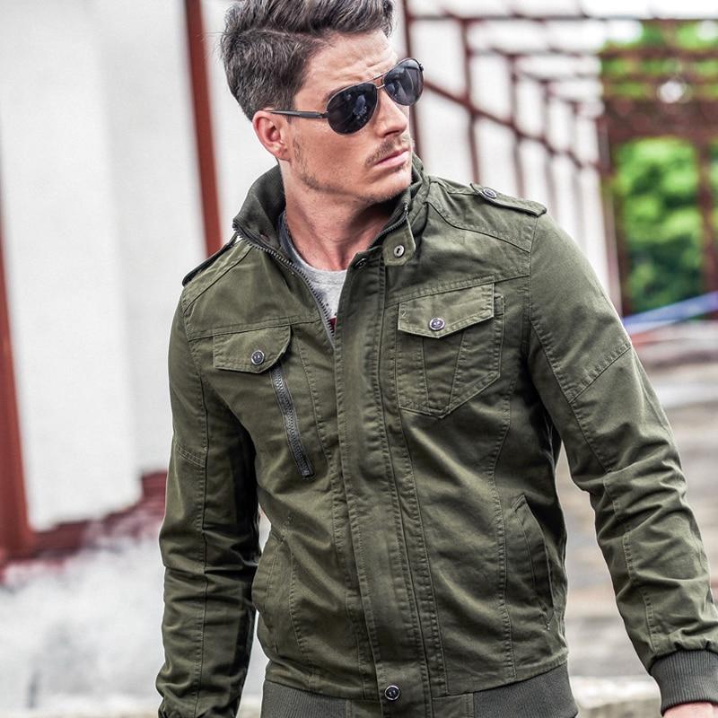 Hommes veste jean militaire Plus M-6XL soldat coton D'air force one mâle Marque vêtements Printemps Automne vestes Pour Hommes noir