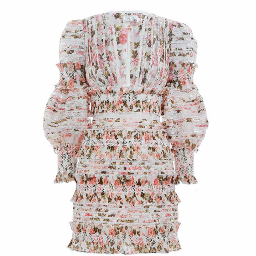2018 летнее модное женское платье с длинным рукавом и v-образным вырезом высокого качества с цветочной вышивкой в стиле бохо Новое Сексуальное женское мини-платье
