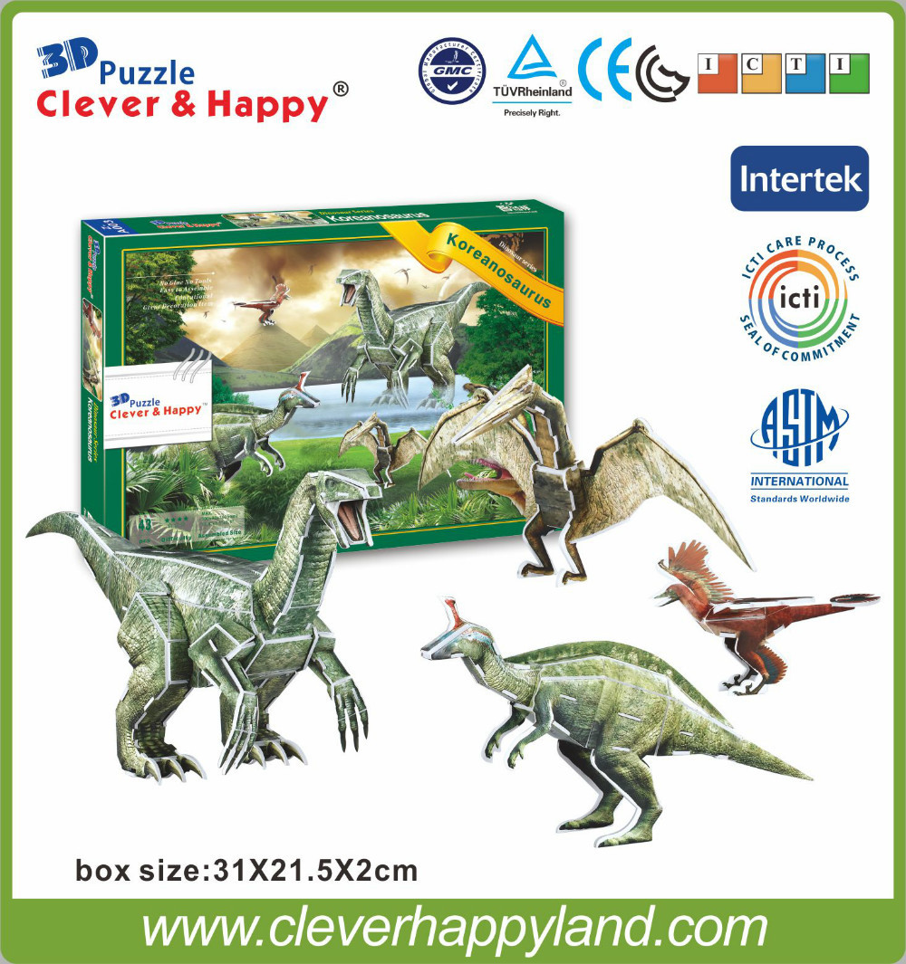 2014 new clever&happy land 3d puzzle model Koreanosaur jigsaw puzzle diy paper model games for children paper