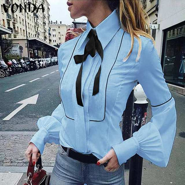 VONDA Ladies Office Shirt 2019 Autumn Blouse Women Sexy Lantern Sleeve Turn-down Collar Shirt Casual Tops Plus Size Blusas S-5XL 3