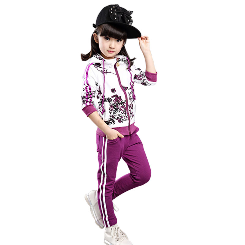 2017 New Girls Clothing Set Fashion Flower Print Kids Tracking Suit Children Jogging Suits 2 Pieces Set Hoodies+pants For 4-10 T 0 6yrs 2016 spring children s clothing suits batman kids hoodies pants children sports suit 2 piece set girls clthing sets