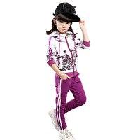 2019 New Girls Clothing Set Fashion Flower Print Kids Tracking Suit Children Jogging Suits 2 Pieces Set Hoodies+pants For 4 10 T